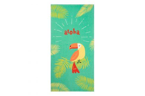 Dětská plážová osuška Papoušek 70x140 cm zelená Plážové doplňky