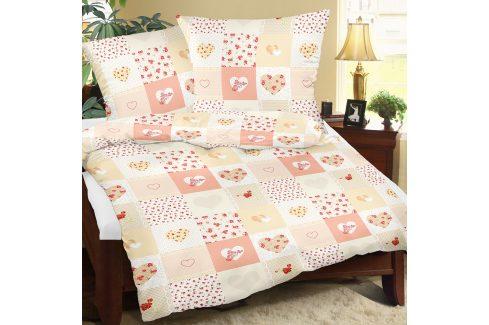 Krepové povlečení Love oranžové 140x200 jednolůžko - standard Krep Krepové povlečení