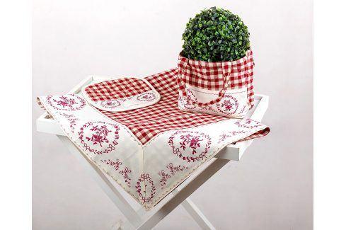 Kuchyňský SET Selský styl červený 90 x 90 cm červená Ubrusy