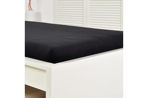 Napínací prostěrado froté černé 160x200 cm dvojlůžko Bavlna - froté Froté prostěradla