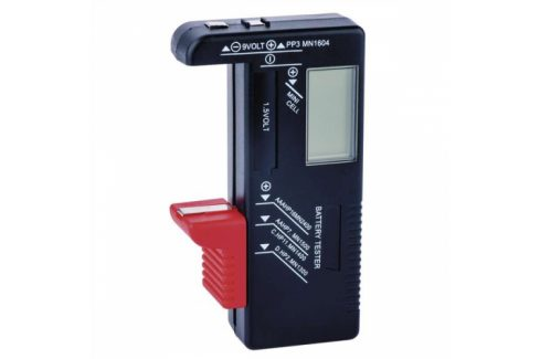 Univerzální tester baterií AA,AAA,C,D,9V, knoflíkové Univerzální nabíječky