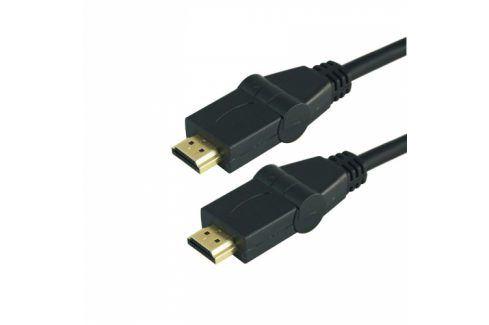 Kabel GoGEN HDMI 1.4, 3m, s rotací 180°, pozlacený, High speed, s ethernetem, černý (HDMI300MM08) Propojovací kabely a redukce