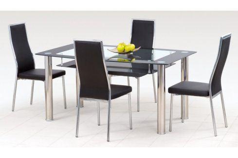 Jídelní stůl Cristal (ocel/sklo čiré/sklo černé) Jídelní stoly