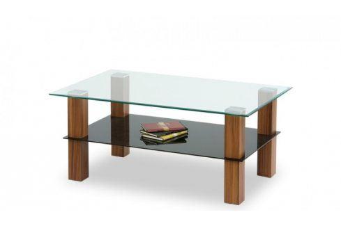 Konferenční stolek Amelia (sklo/černé sklo/ořech) Konferenční stolky