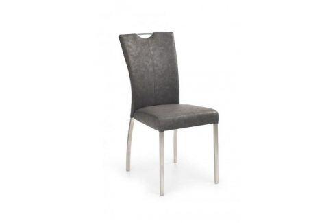 K178  (eko kůže šedá,ocel) Židle