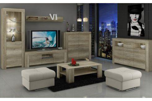 Sky - Obývací stěna, 2x komoda, RTV stolek, světlo (country šedá) Obývací stěny