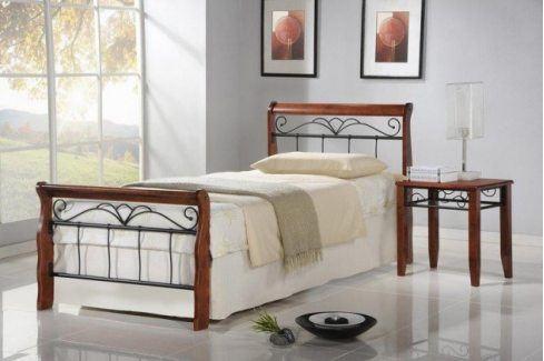 Kovová postel Verona 90x200, třešeň, černá, vč.roštu,bez matrace Postele