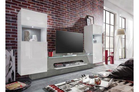Air - Obývací stěna,2x osvětlení (bílá mat/bílá lesk) Obývací stěny