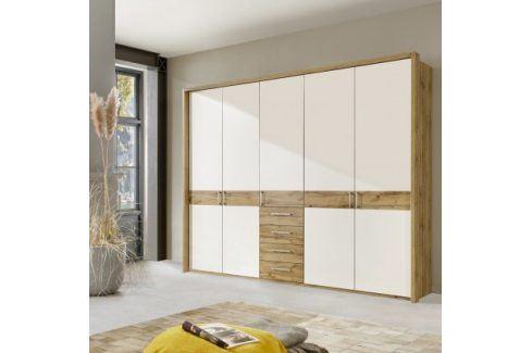 Padua - Skříň, 5x dveře, 4x zásuvka (dub balken/alpská bílá) Šatní skříně