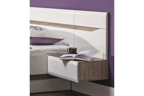 Nočný stolík Leone - závěsný, pravý (dub trufel, bílá lesk) Noční stolky
