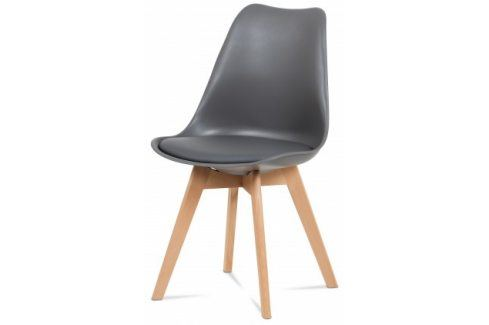 Lina - Jídelní židle šedá, plast + eko kůže Židle