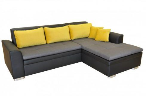 Rohová sedačka rozkládací Vanilla pravý roh ÚP černá šedá, žlutá Sedací soupravy