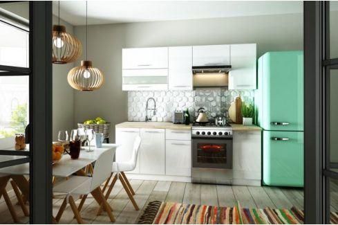 Kuchyně Aurora - 220 cm (bílá vysoký lesk) Kuchyňské linky