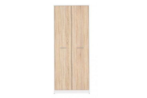 Skříň Novara (bílá/dub sonoma) Šatní skříně